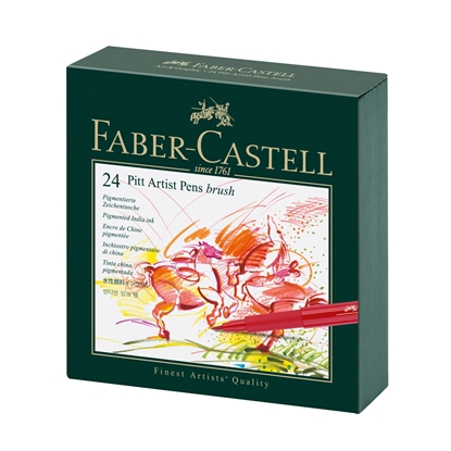 Picture of Faber-Castell Marker-brush Pitt Artist Pen, B, 24 colours, in a box