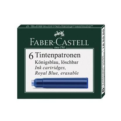Picture of Faber-Castell Ink cartridge for fountain pen, blue, 6 pcs.