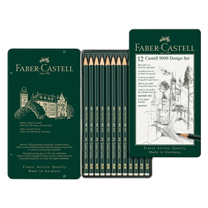 Picture of Faber-Castell Pencil Castell 9000, black-graphited, Set for designers, different hardness, 12 pcs.