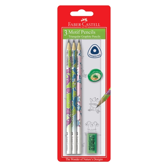 Picture of Faber-Castell Pencil Monsters, with rubber, 3 pcs.