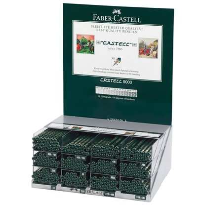 Picture of Faber-Castell Pencil Castell 9000, black-graphited, different hardness, 288 pcs. per display