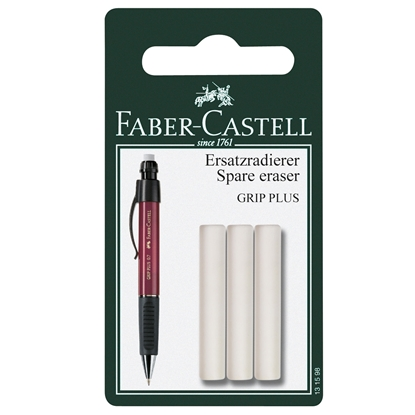 Picture of Faber-Castell Eraser for Mechanical pencil Grip Plus, spare, 3 pcs in blister