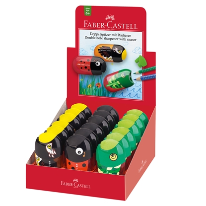 Picture of Faber-Castell Sharpener, double hole, with eraser, fish/ladybug/eagle, displ. of 18