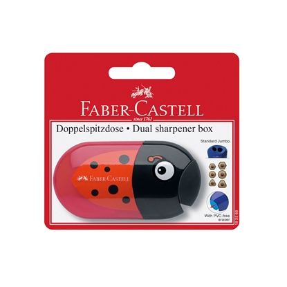 Picture of Faber-Castell Sharpener Trend, double hole, with eraser, assorted, in blister