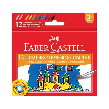 Picture of Faber-Castell tempera paints, 15 ml, 12 colors, in jars