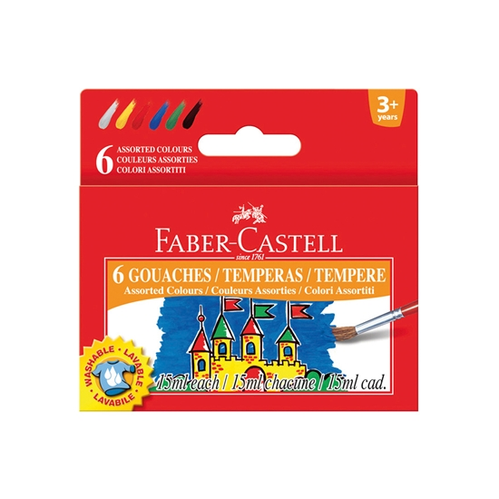 Picture of Faber-Castell tempera paints, 15 ml, 6 colors, in jars