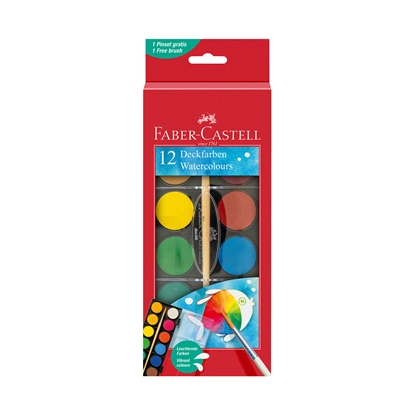 Picture of Faber-Castell watercolors, 12 colors, in a large box