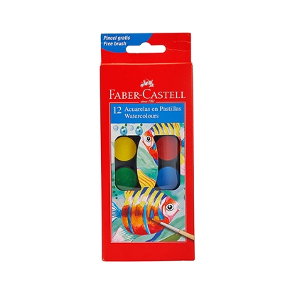 Picture of Faber-Castell watercolors, 12 colors, in a small box