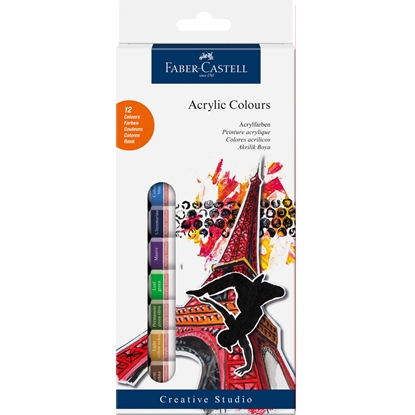 Picture of Faber-Castell acrylic paints, in tubes, 12 ml, 12 colors