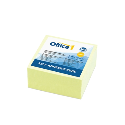 Picture of Office 1 Superstore Sticky notes 75x75mm, pastel yellow, 400 sheets