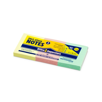 Picture of Office 1 Superstore Sticky notes, 38 x 51 mm, pastel colours, 100 sheets, 3 pcs.