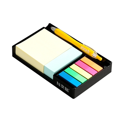 Picture of Stickn Sticky Notes and Flags in black stand, coloured
