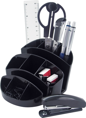 Picture of O-Life Desk Organizer S-356, including office supplies, black