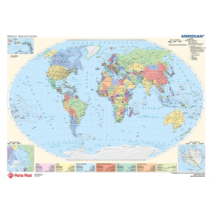 Picture of Panta Plast Desk Pad 590 x 417 mm with political maps of Europe and the world