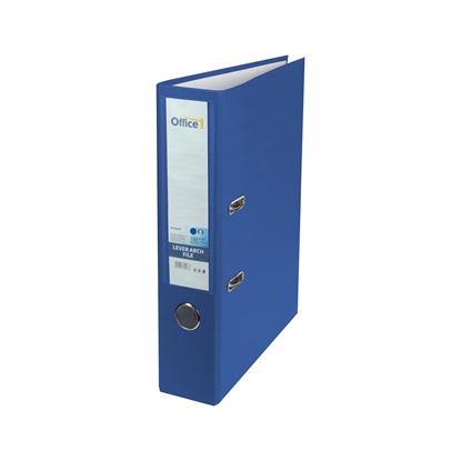 Picture of Office 1 Superstore Lever Arch File, 8 cm, PVC without metal strip, blue