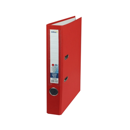 Picture of Office 1 Superstore Lever Arch File, 5 cm, PVC without metal strip, red