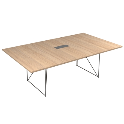 Picture of Narbutas Conference table Air, 2200x1300x740 mm, Melamine amber oak, grey metal