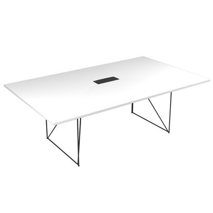 Picture of Narbutas Conference table Air, 2200x1300x740 mm, white Melamine, black metal