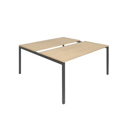 Picture of Narbutas Conference table Nova, 1600x1640x740 mm, Melamine whitened oak, dark grey metal, leg type U