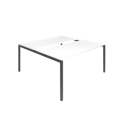 Picture of Narbutas Conference table Nova, 1600x1640x740 mm, white Melamine, dark grey metal, leg type U