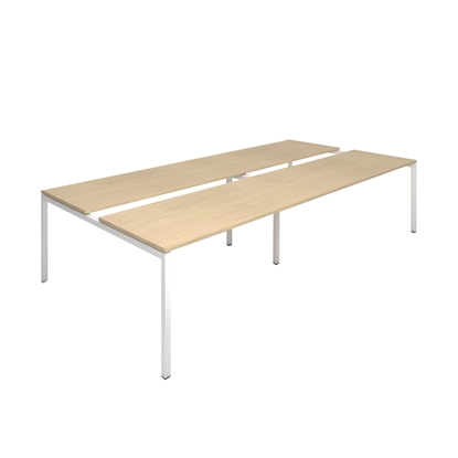 Picture of Narbutas Conference table Nova, 3200x1640x740 mm, Melamine whitened oak, black metal, leg type U