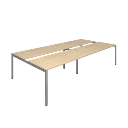 Picture of Narbutas Conference table Nova, 3200x1640x740 mm, Melamine whitened oak, grey metal, leg type U