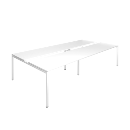 Picture of Narbutas Conference table Nova, 3200x1640x740 mm, white Melamine, white metal, leg type U