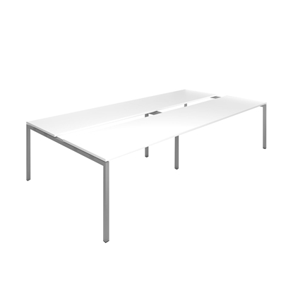 Picture of Narbutas Conference table Nova, 3200x1640x740 mm, white Melamine, grey metal, leg type U
