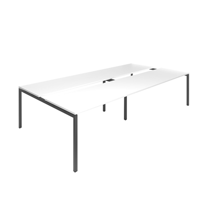 Picture of Narbutas Conference table Nova, 3200x1640x740 mm, white Melamine, dark grey metal, leg type U