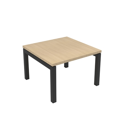 Picture of Narbutas Short legged table Nova, 600x600x400 mm, Melamine whitened oak, black metal, leg type U