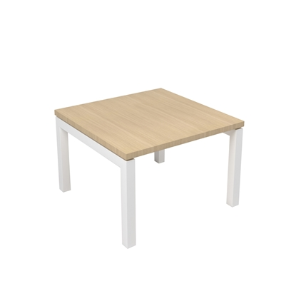 Picture of Narbutas Short legged table Nova, 600x600x400 mm, Melamine whitened oak, white metal, leg type U