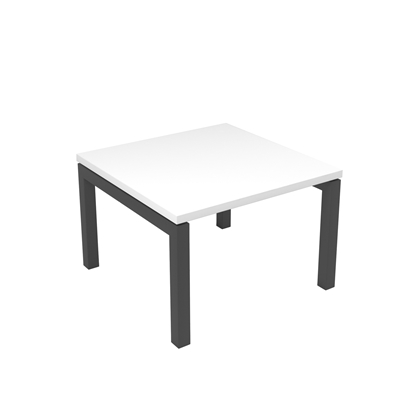 Picture of Narbutas Short legged table Nova, 600x600x400 mm, white Melamine, dark grey metal, leg type U