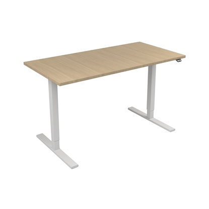 Picture of Narbutas Height-adjustable desk One, electric, 1400x700x1185 mm, bleached oak melamine, white metal, leg type I