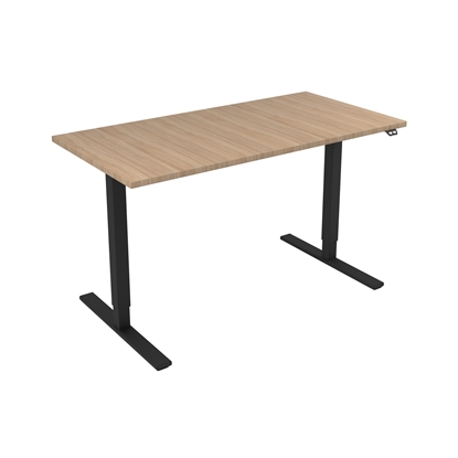 Picture of Narbutas Height-adjustable desk One, electric, 1400x700x1185 mm, amber oak melamine, black metal, leg type I
