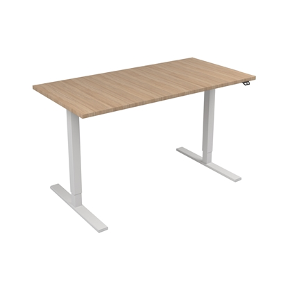 Picture of Narbutas Height-adjustable desk One, electric, 1400x700x1185 mm, amber oak melamine, white metal, leg type I