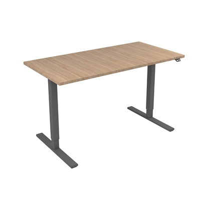 Picture of Narbutas Height-adjustable desk One, electric, 1400x700x1185 mm, amber oak melamine, grey metal, leg type I