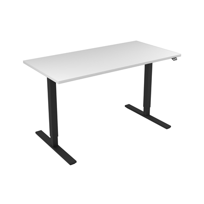 Picture of Narbutas Height-adjustable desk One, electric, 1400x700x1185 mm, white melamine, black metal, leg type I
