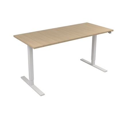 Picture of Narbutas Height-adjustable desk One, electric, 1600x700x1185 mm, bleached oak melamine, white metal, leg type I