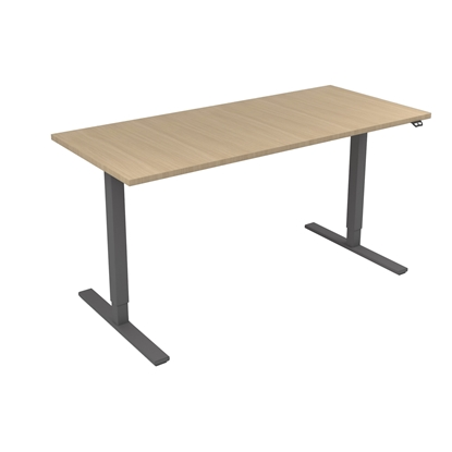 Picture of Narbutas Height-adjustable desk One, electric, 1600x700x1185 mm, bleached oak melamine, grey melamine, leg type I
