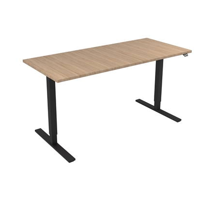 Picture of Narbutas Height-adjustable desk One, electric, 1600x700x1185 mm, amber oak meamine, black metal, leg type I