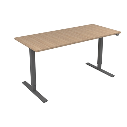 Picture of Narbutas Height-adjustable desk One, electric, 1600x700x1185 mm, amber oak melamine, grey metal, leg type I