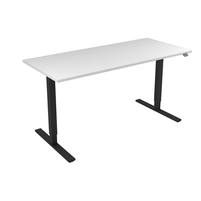Picture of Narbutas Height-adjustable desk One, electric, 1600x700x1185 mm, white melamine, black metal, leg type I