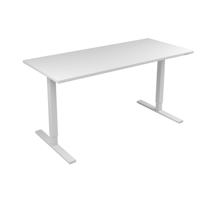 Picture of Narbutas Height-adjustable desk One, electric, 1600x700x1185 mm, white melamine, white metal, leg type I