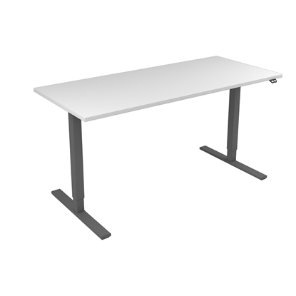 Picture of Narbutas Height-adjustable desk One, electric, 1600x700x1185 mm, white melamine, grey metal, leg type I