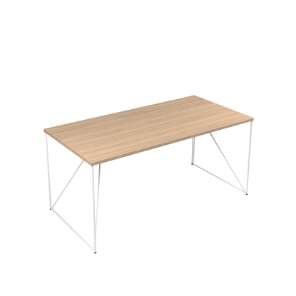 Picture of Narbutas Desk Air, 1600x800x740 mm, amber oak melamine, white metal