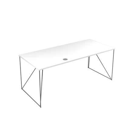 Picture of Narbutas Desk Air, 1800x800x740 mm, white melamine, grey metal
