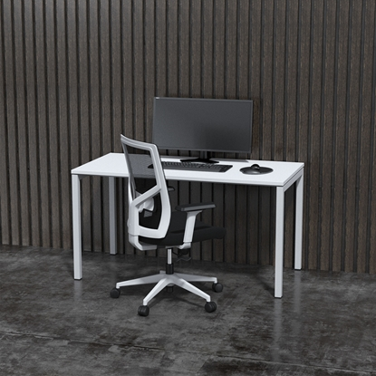 Picture of Narbutas Ergonomic electric desk, 1400x700x740, white metal legs, white board