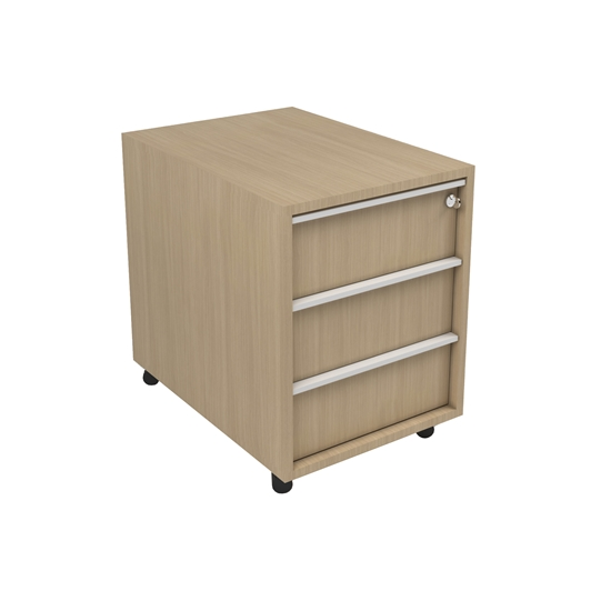 Picture of Narbutas Container Nova A, 428x600x560 mm, Melamine whitened oak, white built-in handle