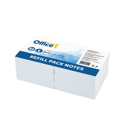 Picture of Office 1 Superstore Paper Cube Refill, offset paper, 83 x 83 mm, 70 g/m2, 250 sheets, white, 6 pcs.