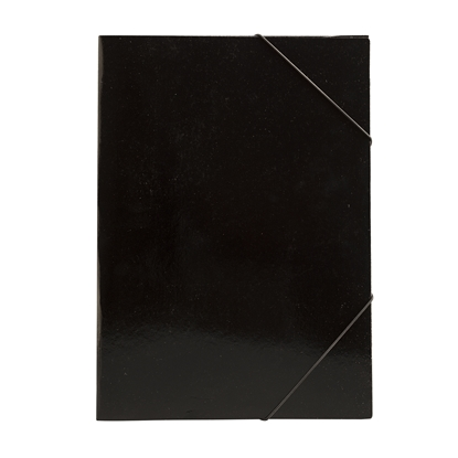 Picture of Cardboard File with rubber band, UV coating, 350 g/m2, black
